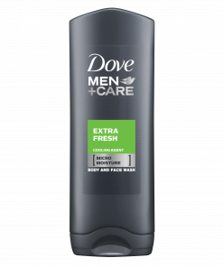Micromoisture. Activates on skin, clinically proven to fight skin dryness. With a cooling agent. Dermatologically approved. Invigorating fragrance. Shower gel. Extra Fresh body and face wash, developed specifically for men's skin