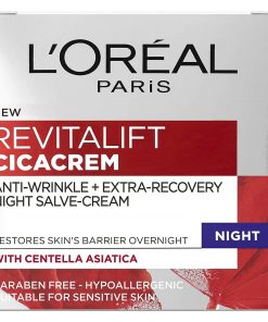 Revitalift Cica Anti Wrinkle Recovery Night Cream Discover the 1st overnight, anti-ageing repairing cream concentrated in Centella Asiatica. This Cica Cream restores the skin's barrier overnight, as during the day our skin is exposed to external aggressions that can have an effect on its barrier and accelerate the appearance of signs of ageing. Less exposed to external aggressions, night-time is an ideal moment for skin to restore its protective barrier. Traditional Cica Creams were born from French pharmacies and soothe damaged skin by reinforcing its barrier functions. Centella Asiatica has been used for centuries in Traditional Chinese Medicine and is famed for its repairing abilities. Legend has it that tigers would roll on the plant to heal their wounds. The repairing power of Centella Asiatica, commonly known as 'The Tiger Herb', has been harnessed in this 8-hour night recovery cream. In just 7 days, the skin's repairing capacity is boosted by 10%, wrinkles appear reduced and skin appears plump. Tested under dermatological control, on sensitive skin. From Science to Beauty With more than 30 years of dedicated research, at L'Oréal Paris we know your skin inside out – whether normal, dry, dull, sensitive, ageing or combination. Our skincare creams are developed and rigorously tested with leading skin experts and scientists worldwide. Proven science, cutting-edge innovations captured in luxurious textures for a sumptuous skincare experience. For beautiful skin today and more youthful looking skin tomorrow. Goes well with L'Oreal Paris Revitalift Cica Anti-Wrinkle Repair Cream 40ml L'Oreal Paris Revitalift Cica Anti Wrinkle Recovery Eye Cream 15ml Revitalift Cica Anti-Wrinkle Eye Cream An anti-wrinkle and extra-recovery night-salve cream for overnight repair Our Cica Cream is infused with Centella Asiatica Bouncy, non-greasy balm texture Paraben free, hypoallergenic and suitable for sensitive skin