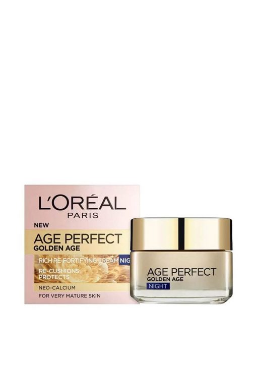 L'Oréal laboratories introduces L'Oreal Paris Age Perfect Golden Age Rich Refortifying Cream. The L'Oréal laboratories have developed L'Oreal Paris Age Perfect Golden Age Rich Refortifying Cream with Neo-Calcium and SPF 15. With age, beyond skin slackening, natural calcium levels in the skin become depleted. The skin loses its density, becoming thinner and more fragile. Discover Age Perfect Rich Re-fortifying Cream specifically formulated for very mature skin. Also thanks to SPF 15, the skin is protected against the negative effects of UV rays and causes of sagging. Visible Results with L'Oreal Paris Age Perfect Golden Age Rich Refortifying Cream: -Instantly hydrated, skin feels comfortable and smoother, without feeling tight; -Day after day, the skin regains its natural radiance and softness; -The facial contours look more defined.